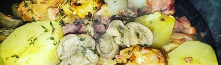 Bravčové mäso v disku s hubami